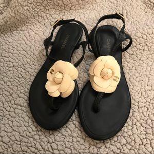 Black Leather with Cream Camellia Sandals